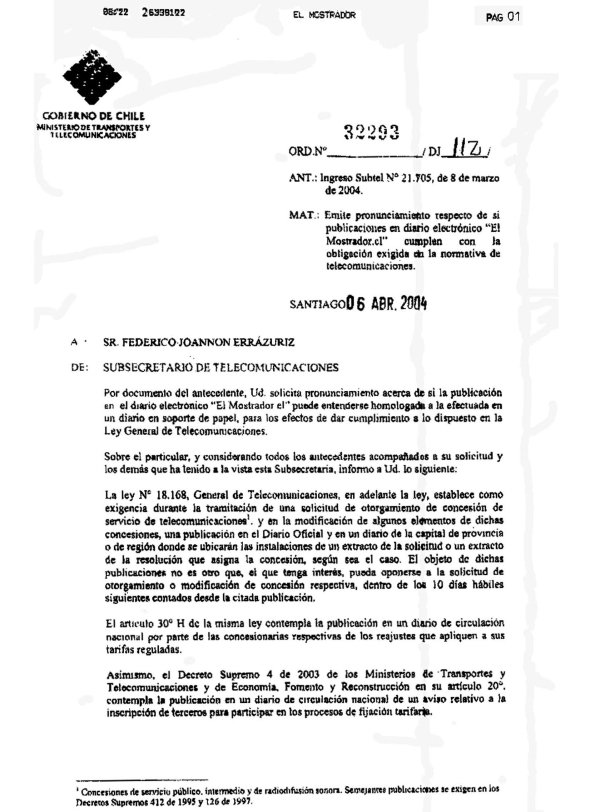 Resolución MInisterio de Transportes
