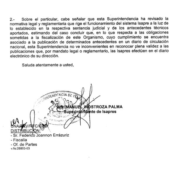 Resolución Superintendencia de Isapres