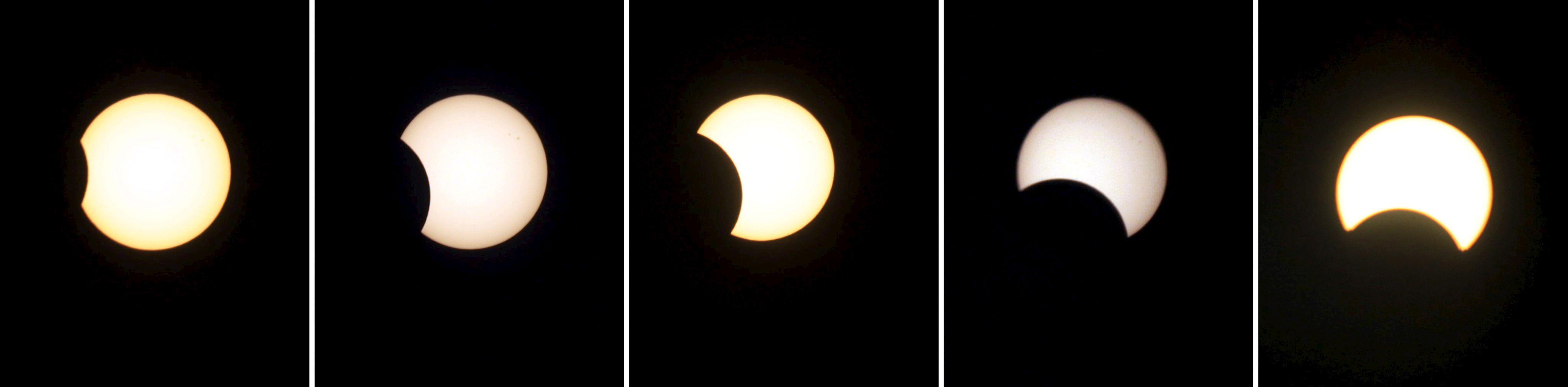Combo fotográfico del eclipse anular de Sol más largo del milenio, en Jammu, la capital de invierno de la cachemira india.