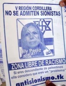 Muestra de los volantes antisemitas contra la senadora RN Lily Pérez