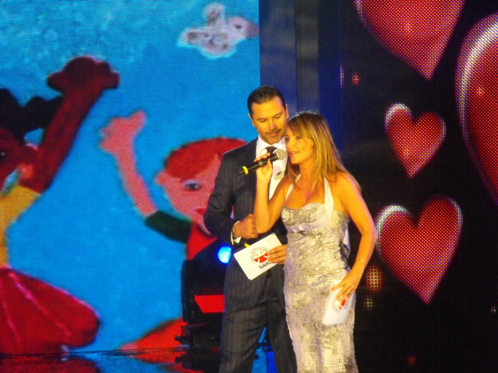 Felpe Camiroaga y Eva Gómez inagurando el primer bloque de animación.