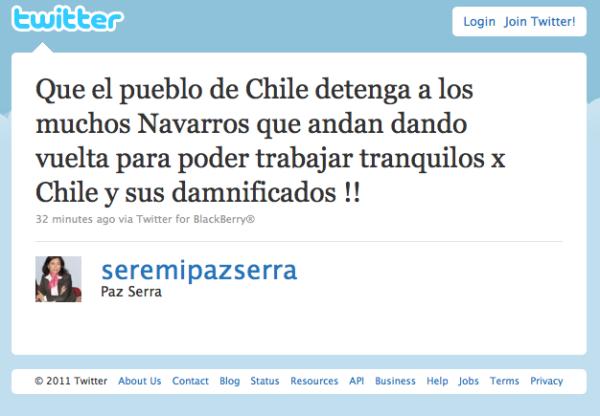 mensaje-en-twitter-de-seremi-paz-serra-sobre-alejandro-navarro