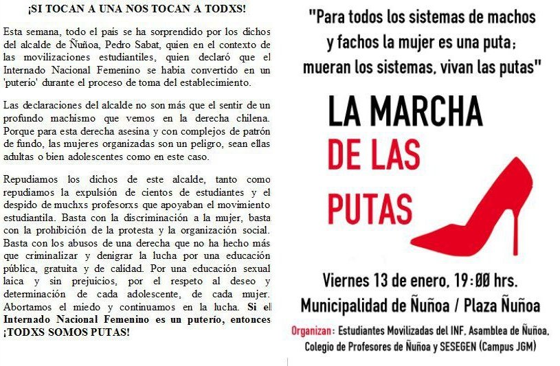 Panfleto convocatoria de la marcha