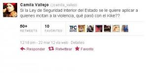 Twiteo de Camila a Kike