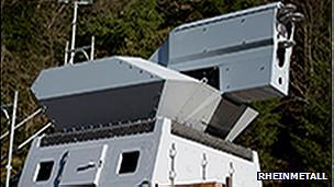 El sistema de armas láser puede cortar a través de una viga de acero.