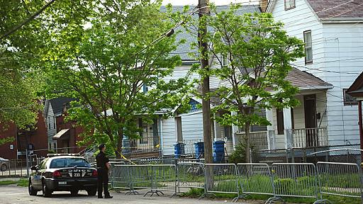 La cuadra de Cleveland donde ocurrió el triple secuestro