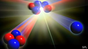 Al colisionar los átomos de deuterio y el tritio, dos formas de hidrógeno, liberan gran cantidad de energía.