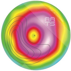 Disco protoplanetario visto a través del interferometro ALMA.  Los contornos muestran el polvo atrapado en un vortice donde podrían formarse nuevos planetas.