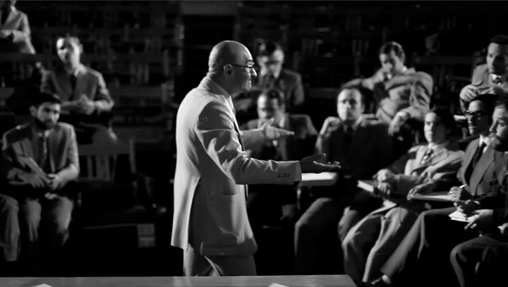 "Recreación: Milton Friedman dando charlas a los ""Chicago Boys"""
