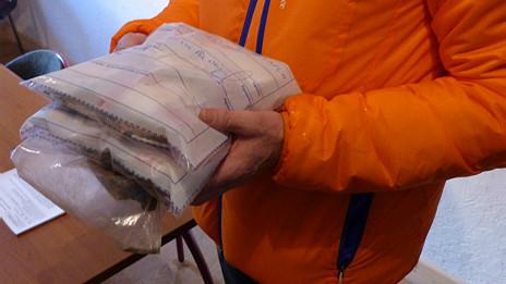 Una de las fotos de las bolsas, cortesía de la municipalidad de Chamonix.
