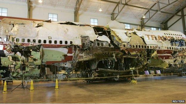 El avión 800 de TWA fue renconstruido como parte de la investigación.