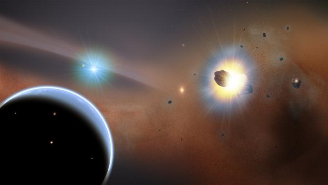 Choque de cometas explica sorprendente presencia de aglomeraciones de gas alrededor de una estrella joven