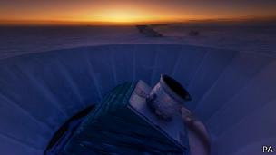 El telescopio de BICEP2, en el Polo Sur, detectó las ondas gravitacionales primordiales.