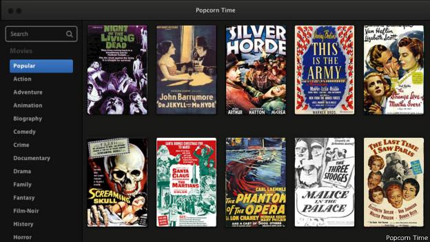 El sitio ofrece cientos de películas y luce muy parecido a Netflix. (Imagen: Popcorn Time).