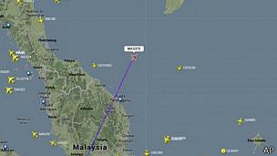 La imagen muestra la última ubicación registrada del vuelo desaparecido.