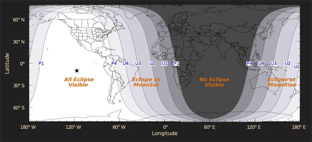 En este mapa de la Nasa indica que toda América tendrá la mejor visibilidad del eclipse lunar.