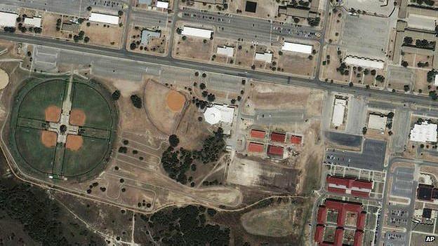 Imagen satelital de Fort Hood tras el tiroteo de 2009.