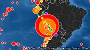 Un mapa del récord de terremotos de abril