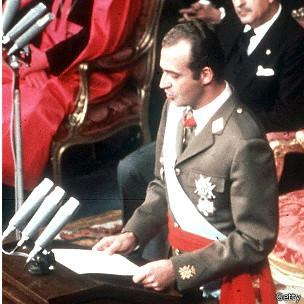 Juan Carlos I (aquí durante un discurso tras su proclamación en 1975) reinó 39 años.