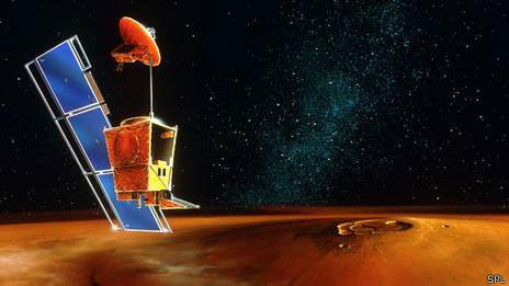 Así se habría visto el Mars Climate Orbiter si una falla de cálculo no lo hubiera hecho estrellar contra la atmósfera marciana.