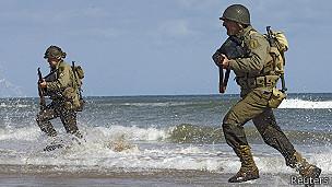 Una recreación del Día D durante la conmemoración de los 70 años del desembarco en Normandía.