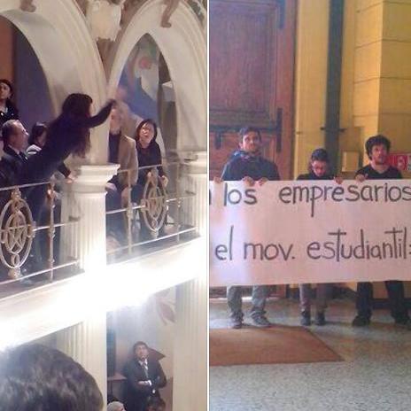 Estudiante 'funa' a Presidenta Bachelet en medio de ceremonia de cambio de mando de rector de la U. de Chile
