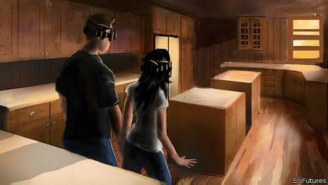 Ilustración del Holoroom de Lowe's, donde el cliente puede recrear su nuevo hogar.