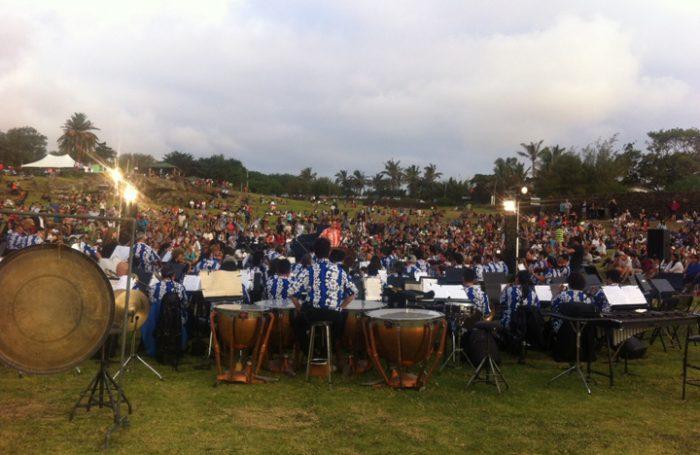 Vista general del concierto en Isla de Pascua