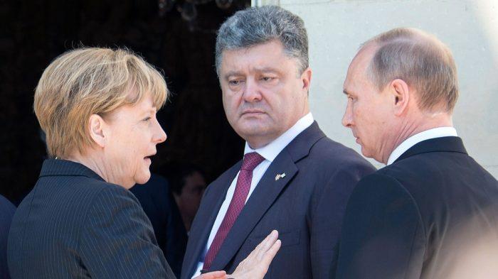 Ucrania: Hollande, Merkel, Putin y Poroshenko piden aplicar la tregua