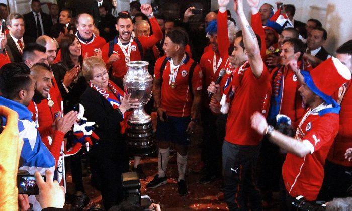 La celebración de los campeones de Copa América en La Moneda