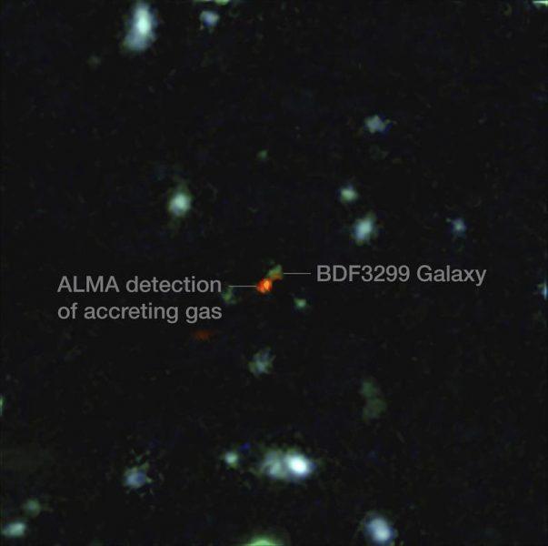 Astrónomos observan por vez primera el interior de una galaxia temprana