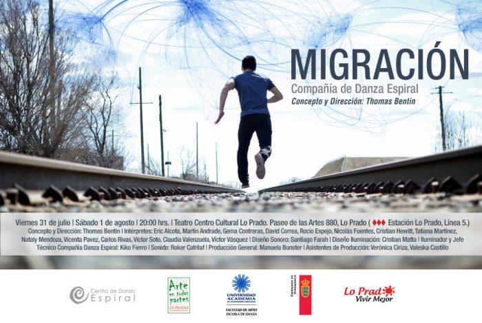 """Obra de danza """"Migración"""" por Compañía de Danza Espiral en Teatro Centro Cultural Lo Prado, 31 de julio y 1° de agosto"""