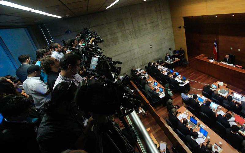 04 de Marzo de 2015/SANTIAGO  Vista general de la sala durante la audiencia de formalización del caso Penta en el Octavo Juzgado de Garantía en el Centro de Justicia.  FOTO: CRISTOBAL ESCOBAR/AGENCIAUNO