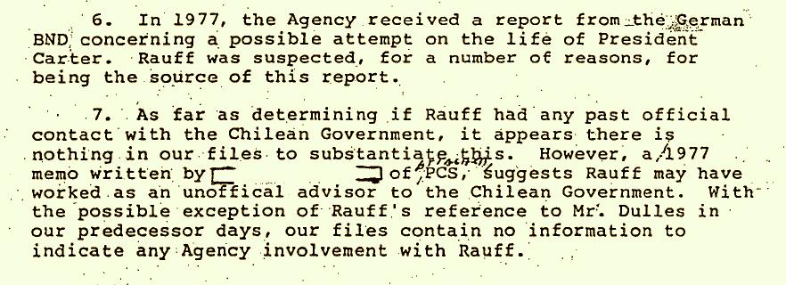 """Extracto del Informe de la CIA en que se lo sindica como posible fuente del  BND y  como supuesto """"asesor extraoficial"""" del gobierno de Pinochet."""
