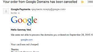 Prueba de cómo Google canceló la transacción.