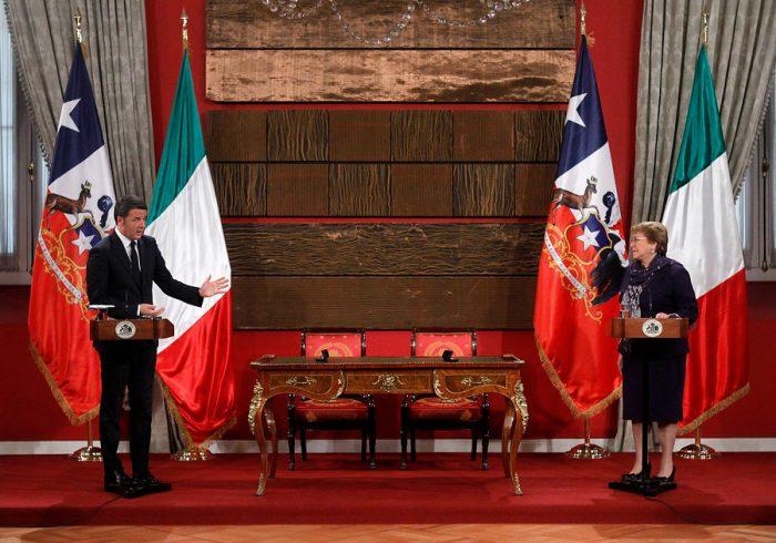 Chile e Italia firmaron acuerdos comerciales en visita de primer ministro Matteo Renzi
