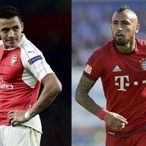 Todo listo en Munich: Alexis y Vidal se enfrentan en la ida de los octavos de la Champions