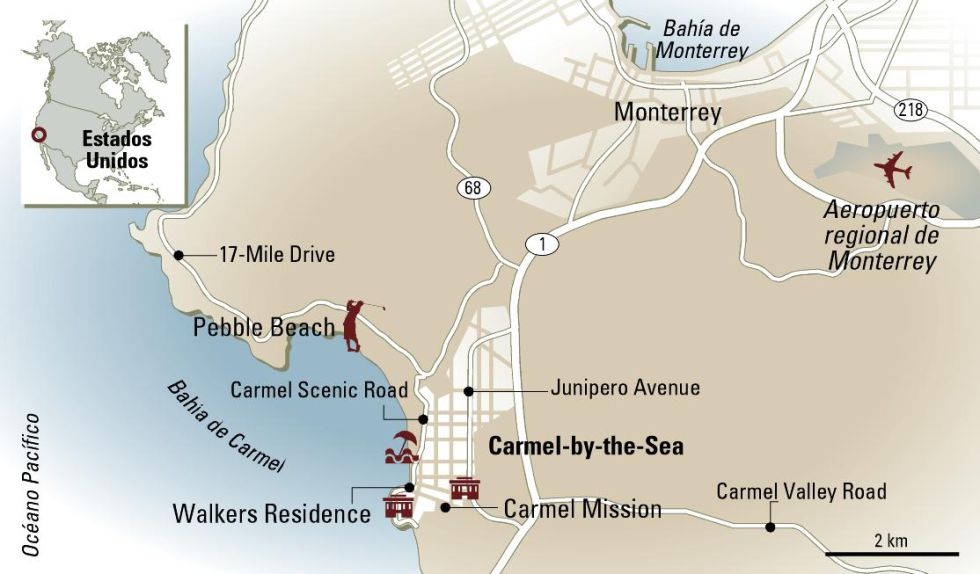 Mapa de Carmel by the Sea, en California (EE UU).