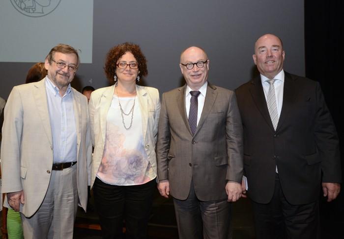 Dr. Ramón Latorre, director de CINV;  Virginia Garretón, directora Iniciativa Científica Milenio; Dr. Martin Stratmann, presidente de Max Planck, y Dr. Rolf Schulze, embajador de Alemania en Chile