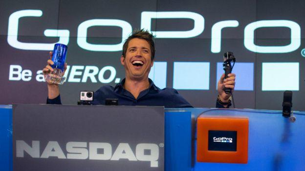 Nicholas Woodman, CEO de GoPro, cuando la empresa salió a cotizar en la bolsa de Nueva York, en 2014