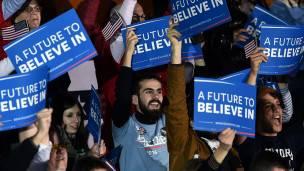 Los seguidores de Sanders celebraron el primer triunfo tras la derrota ante Hillary Clinton en Iowa.