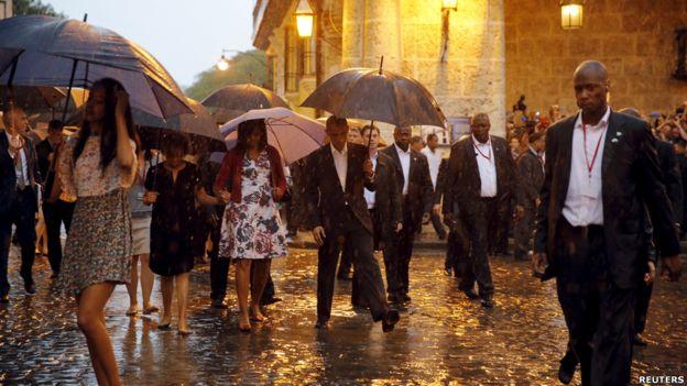 La familia presidencial estadounidense dio un paseo por el casco histórico de La Habana Vieja.