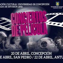 Concierto con música de películas con la Orquesta Sinfónica de UdeC en tres comunas de Concepción, 20 al 22 de abril. Entrada liberada.