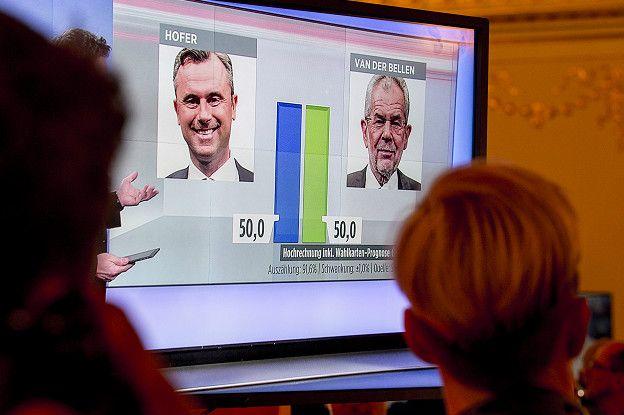 Hofer mantuvo una ligera ventaja hasta el conteo de los votos por correo.