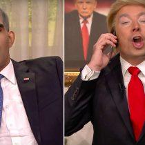 [VIDEO] Jimmy Fallon personificando a Donald Trump llama a Obama para presumir de su nueva victoria
