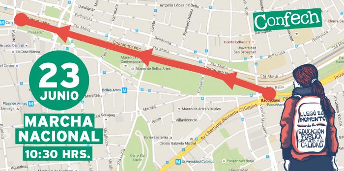 Desde Plaza Italia hasta el Puente de Avenida La Paz: revisa el recorrido de la marcha estudiantil de este jueves
