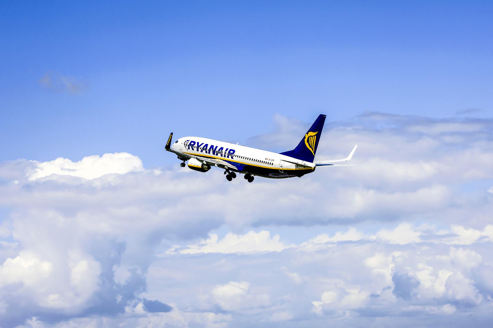 Bristol, Somerset, UK - June 15, 2009: RyanAir Irish Budget Airlines Boeing 737-400 aircraft departs Bristol airport UK