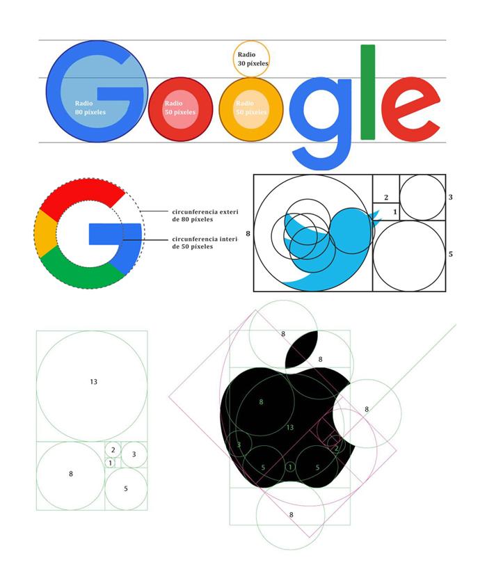 Si bien las especificidades métricas de estos logotipos son materia de debate en internet, claramente están inspiradas en la secuencia de Fibonacci y su relación con la división áurea. De hecho, éstas son frecuentemente utilizadas en trabajos de diseño.