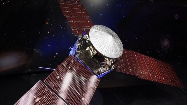 Este es un modelo a escala de la sonda que fue mostrado en los laboratorios de la NASA en Pasadena.