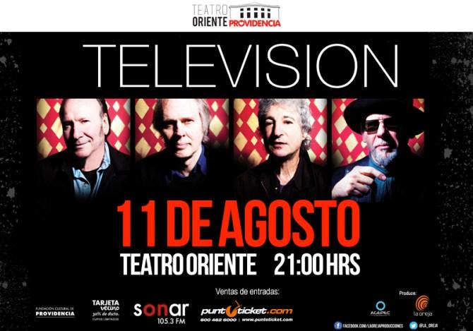 """Concierto banda """"Televisión"""" en Teatro Oriente, 11 de agosto"""
